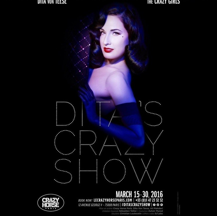 Дита фон Тиз анонсирует шоу Crazy Horse instagramm.ditavonteese